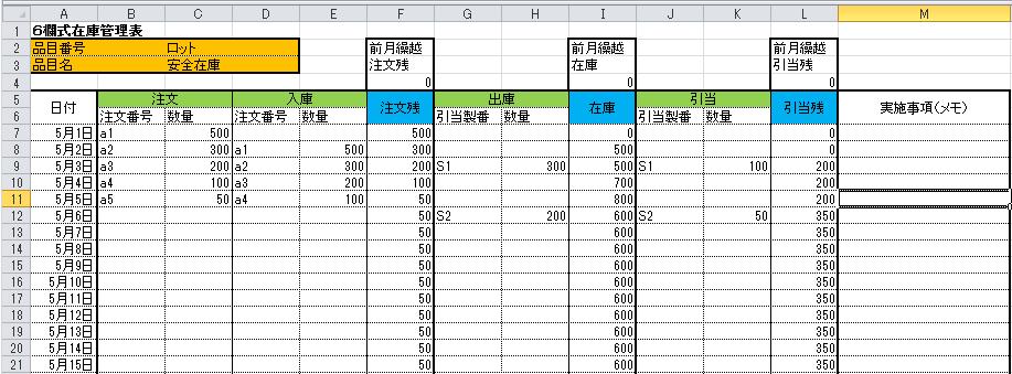 6欄式在庫管理表