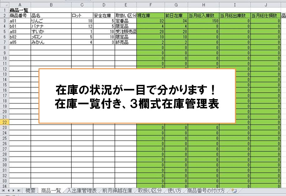 3欄式在庫管理表-現在庫一覧付き